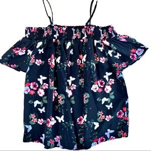 Tops - Women's Off Shoulder Spaghetti Strap Floral Blouse